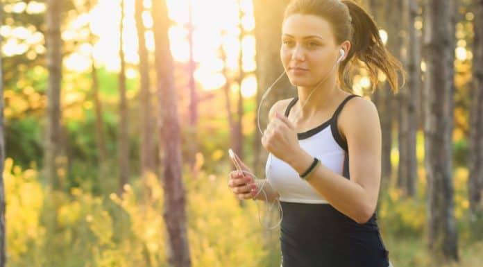 Happy woman exercising